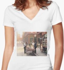 Clam seller on Mulberry Bend, New York, ca 1900 Women's Fitted V-Neck T-Shirt