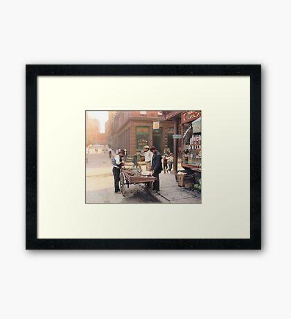 Clam seller on Mulberry Bend, New York, ca 1900 Framed Print