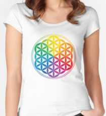 Flower Of Life, Sacred Geometry, Yoga Women's Fitted Scoop T-Shirt