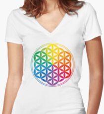 Flower Of Life, Sacred Geometry, Yoga Women's Fitted V-Neck T-Shirt