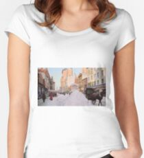 Piles of snow on Broadway, after storm, New York, ca 1905 Colorized Fitted Scoop T-Shirt