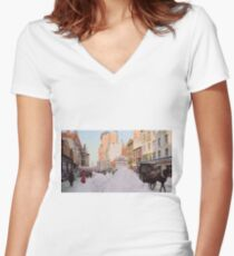 Piles of snow on Broadway, after storm, New York, ca 1905 Colorized Fitted V-Neck T-Shirt
