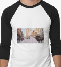 Piles of snow on Broadway, after storm, New York, ca 1905 Colorized Baseball ¾ Sleeve T-Shirt