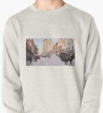 Piles of snow on Broadway, after storm, New York, ca 1905 Colorized Pullover Sweatshirt