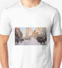 Piles of snow on Broadway, after storm, New York, ca 1905 Colorized Unisex T-Shirt
