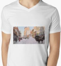 Piles of snow on Broadway, after storm, New York, ca 1905 Colorized Men's V-Neck T-Shirt