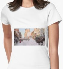 Piles of snow on Broadway, after storm, New York, ca 1905 Colorized Women's Fitted T-Shirt