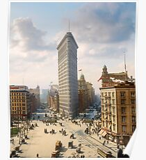Flat Iron in New York City, ca 1903 colorized Poster