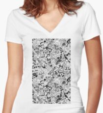 cute graphite  Women's Fitted V-Neck T-Shirt