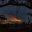 Sunset at the Cattle Yard - Kilcowera Station by Malcolm Katon