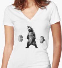Grizzlybär-Kreuzheben Tailliertes T-Shirt mit V-Ausschnitt