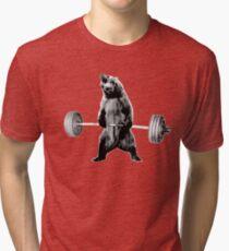 Grizzly Bear Deadlifting Tri-blend T-Shirt