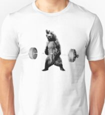 Grizzly Bear Deadlifting Unisex T-Shirt