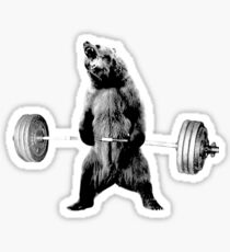 Grizzly Bear Deadlifting Sticker