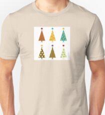 Retro christmas tree elements. Christmas trees design elements isolated on white Unisex T-Shirt