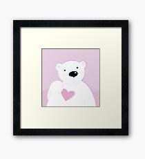 Polar bear with love heart. Cute polar bear character with pink heart Framed Print