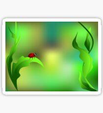 Ladybug sitting on a green leaf Sticker
