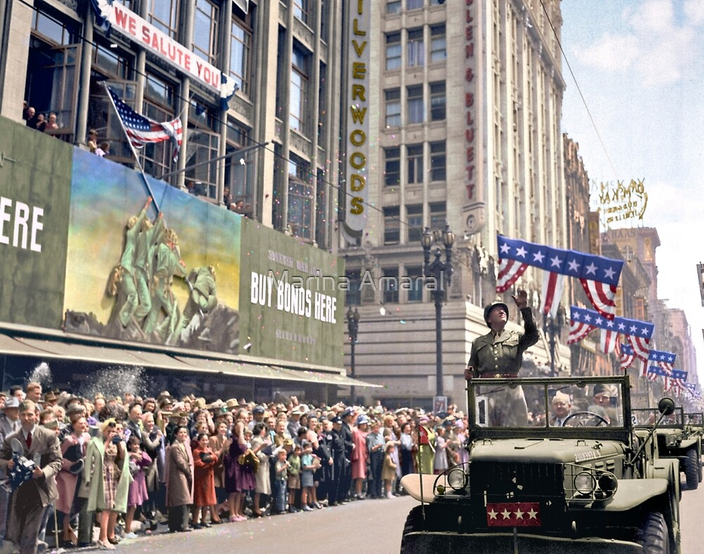 Patton during a welcome home parade in Los Angeles, June 9, 1945 by Marina Amaral