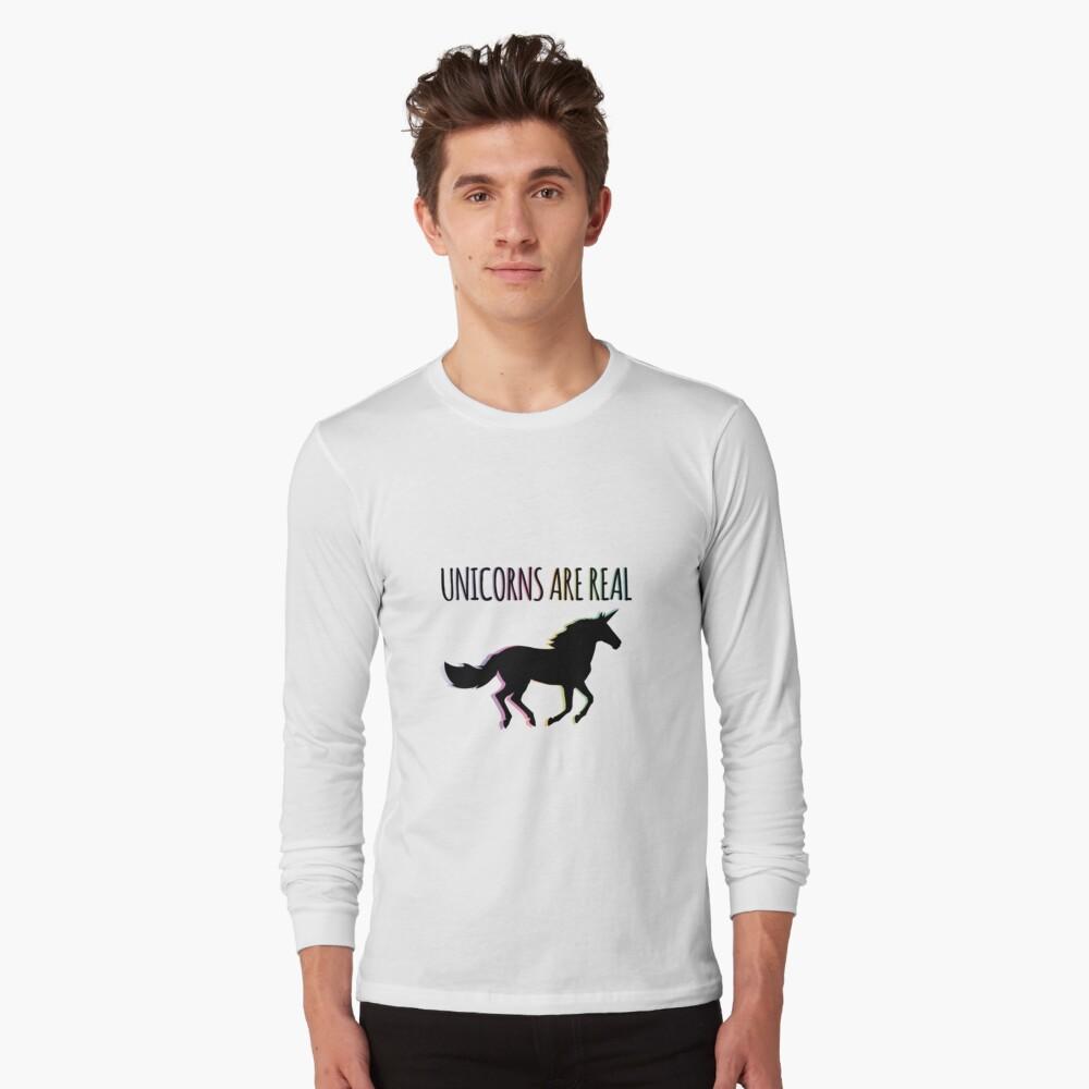 Unicorns are Real Rainbow Version Long Sleeve T-Shirt