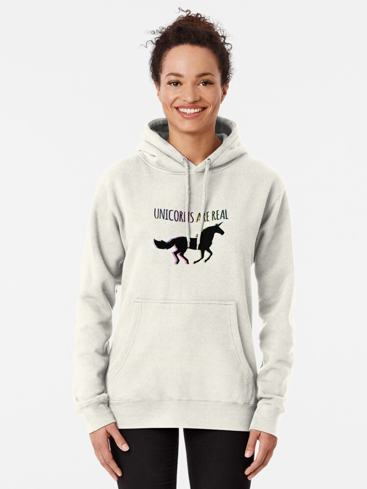 Alternate view of Unicorns are Real Rainbow Version Pullover Hoodie