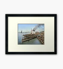Sidewheeler Tashmoo leaving wharf in Detroit, ca 1901 Colorized Framed Print
