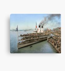 Sidewheeler Tashmoo leaving wharf in Detroit, ca 1901 Colorized Canvas Print
