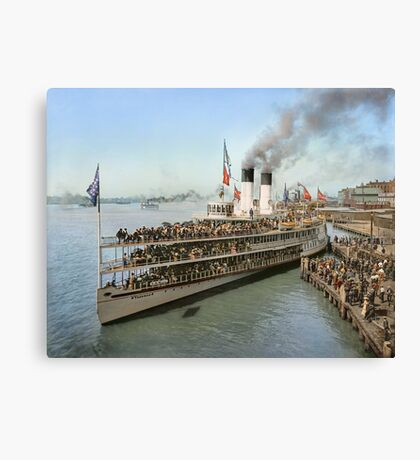 Sidewheeler Tashmoo leaving wharf in Detroit, ca 1901 Colorized Canvas Print