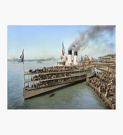 Sidewheeler Tashmoo leaving wharf in Detroit, ca 1901 Colorized Photographic Print