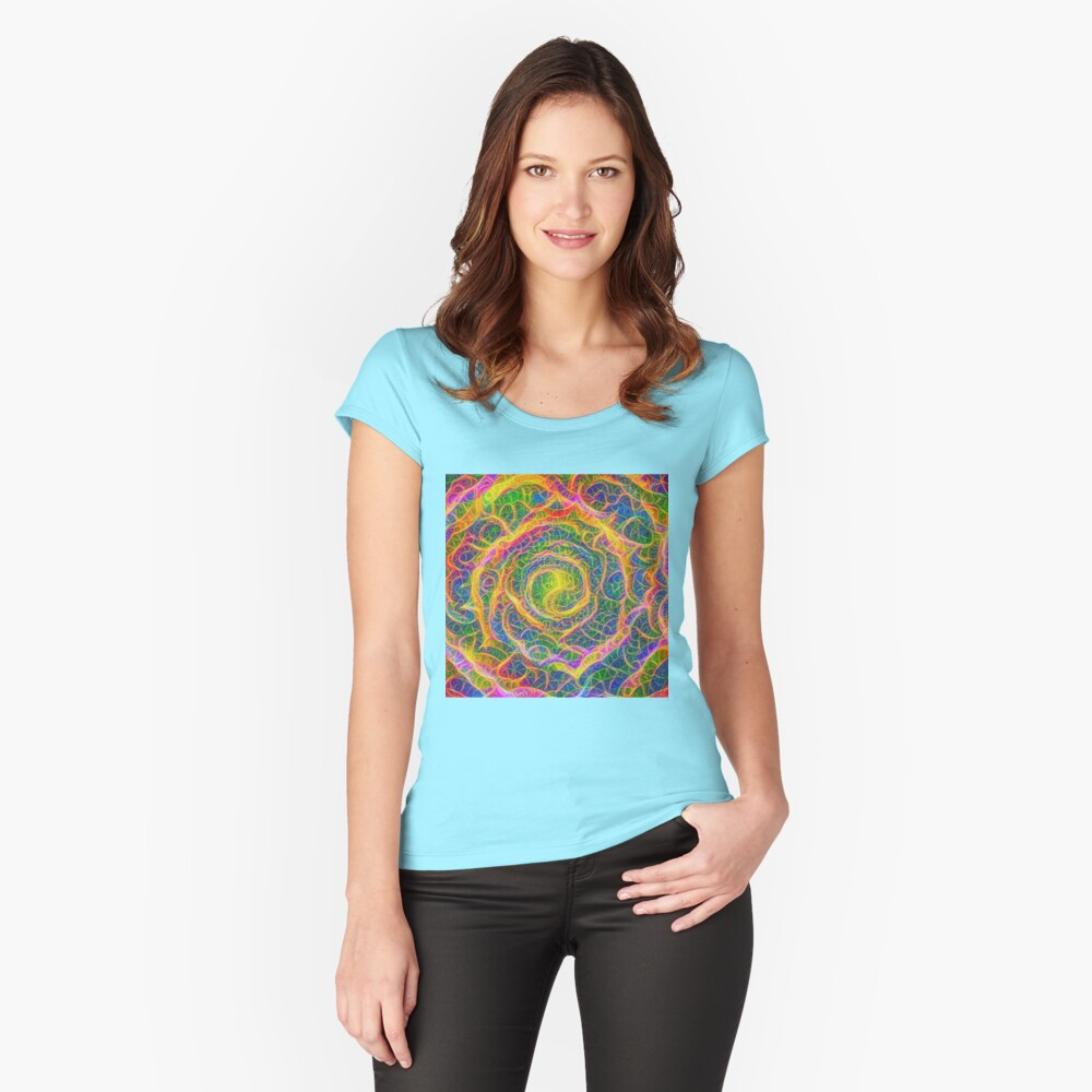 Spider web #DeepDream Women's Fitted Scoop T-Shirt Front