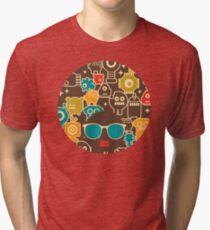 Robots on brown Tri-blend T-Shirt