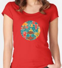 Robots on blue Women's Fitted Scoop T-Shirt