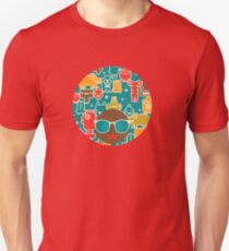 Robots on blue T-Shirt