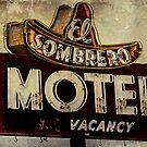 Vintage El Sombrero Motel Sign, Salinas, CA. by Honey Malek