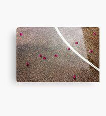 Wet road outdoors with pink petals and white line Canvas Print