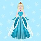 Snow Princess In Blue Dress Front by Liron Peer