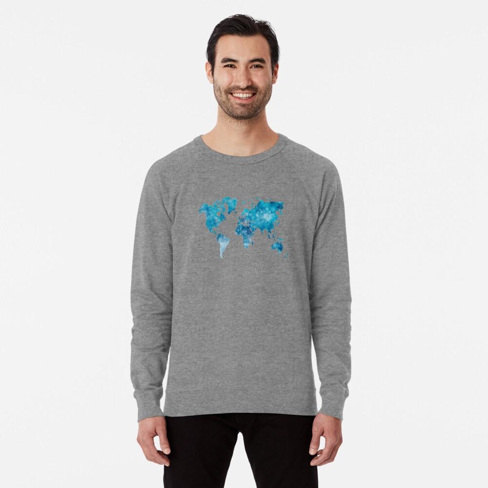 Weltkarte in Aquarell Leichtes Sweatshirt