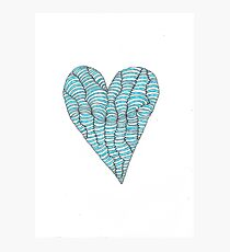 Blue Wobbly Heart Photographic Print