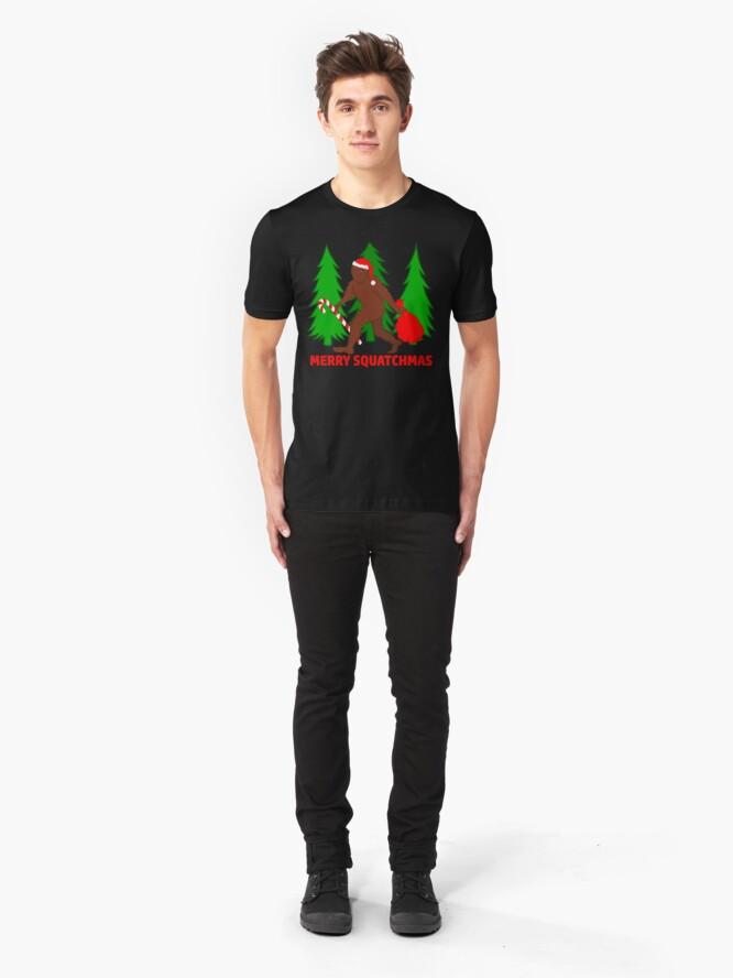 Alternate view of Merry Squatchmas Funny Christmas Bigfoot Santa Slim Fit T-Shirt