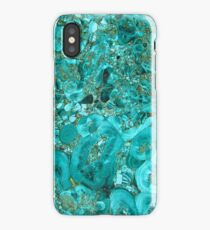 Marble Turquoise Blue Gold iPhone Case