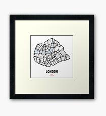London Heart – hand drawn map of central London (black) Framed Print