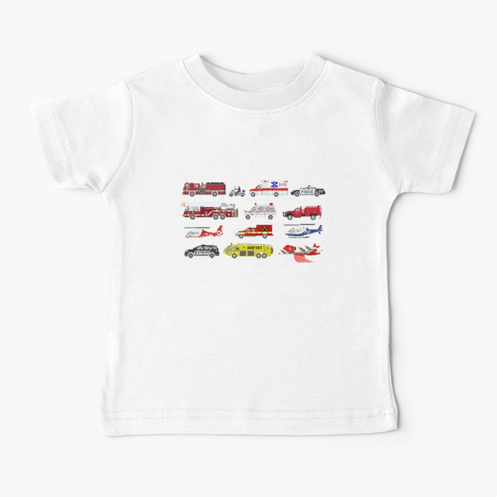 Emergency Vehicles - The Kids' Picture Show - 8-Bit Baby T-Shirt