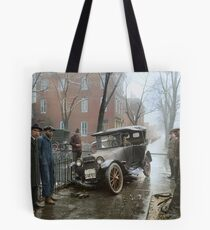 Auto Wreck in Washington DC, 1921. Colorized Tote Bag