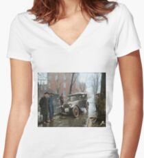 Auto Wreck in Washington DC, 1921. Colorized Women's Fitted V-Neck T-Shirt