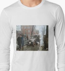 Auto Wreck in Washington DC, 1921. Colorized Long Sleeve T-Shirt