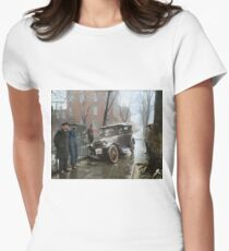 Auto Wreck in Washington DC, 1921. Colorized Women's Fitted T-Shirt