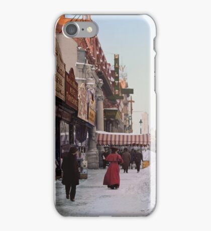 Piles of snow on Broadway, after storm, New York, ca 1905 Colorized iPhone Case/Skin