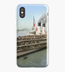 Sidewheeler Tashmoo leaving wharf in Detroit, ca 1901 Colorized iPhone Case