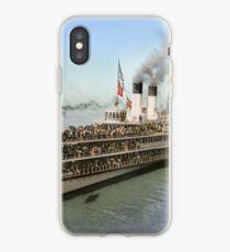 Sidewheeler Tashmoo leaving wharf in Detroit, ca 1901 Colorized iPhone Case