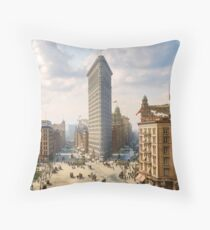 Flat Iron in New York City, ca 1903 colorized Throw Pillow