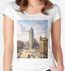 Flat Iron in New York City, ca 1903 colorized Fitted Scoop T-Shirt